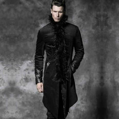 Knee length gothic style warm men's coat with long faux fur collar, and  ornamented leather