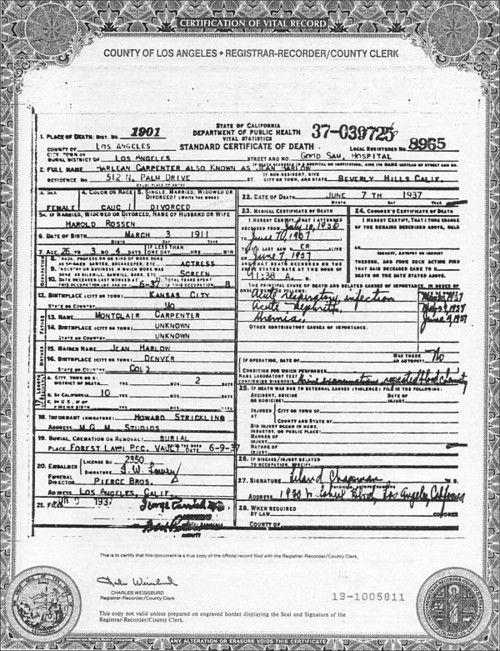 Jean Harlows Death Certificate Old Stars Pinterest Death