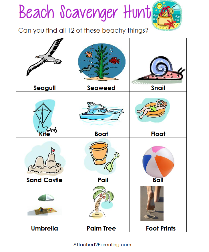 Beach Scavenger Hunt For Toddlers and Preschoolers - Free Printable ...