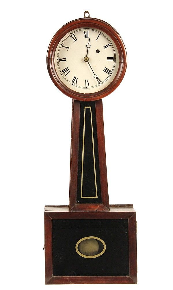 Banjo Clock Period Weight Driven 8 Day Time Only With Brass Movement Stamped E Clock Antique Clocks Cartel Clock