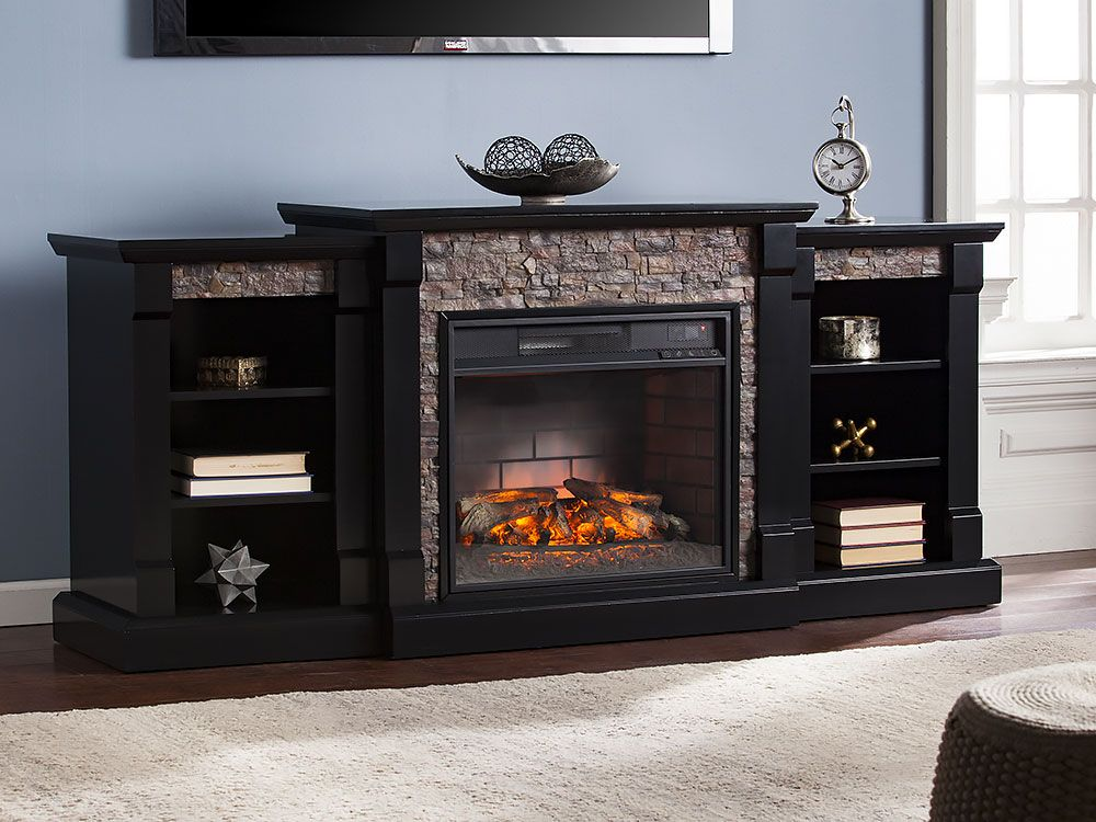 Gallatin Infrared Electric Fireplace Entertainment Center In Black