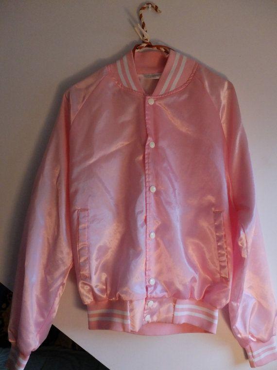 Vintage Light Pink Satin Varsity Bomber Sports Jacket Grease Pink
