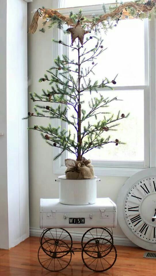 Vintage French Soul ~ small Christmas Tree ideas, Farmhouse Style