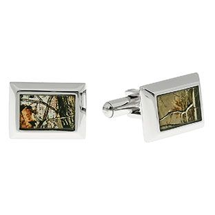 Mens Camo Jewelry - Men's Stainless Steel Tree Camouflage Cufflinks Available Exclusively at Gemologica.com