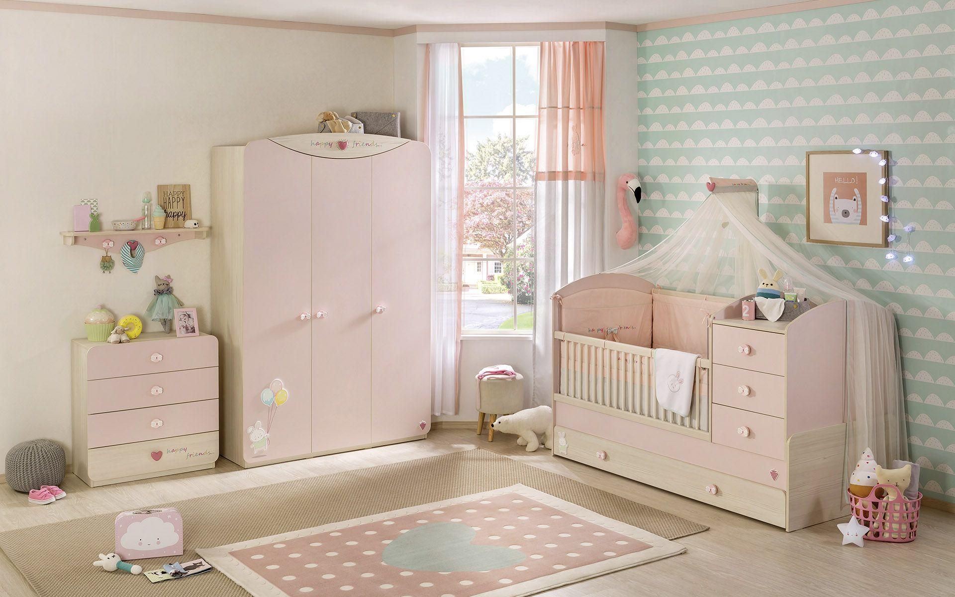 CHAMBRE BABY GIRL 1 – lit barreau – armoire – commode bébé – Cilek ...