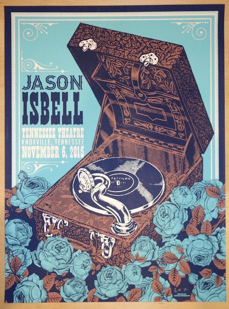 """Jason Isbell - silkscreen concert poster (click image for more detail) Artist: Status Serigraph Venue: Tennessee Theatre Location: Knoxville, TN Concert Date: 11/6/2015 Size: 18"""" x 24"""" Edition: Artist"""