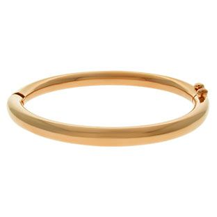 Women's Rose Gold Over Stainless Steel Hinged Bangle Bracelet Jewelry Available Exclusively at Gemologica.com