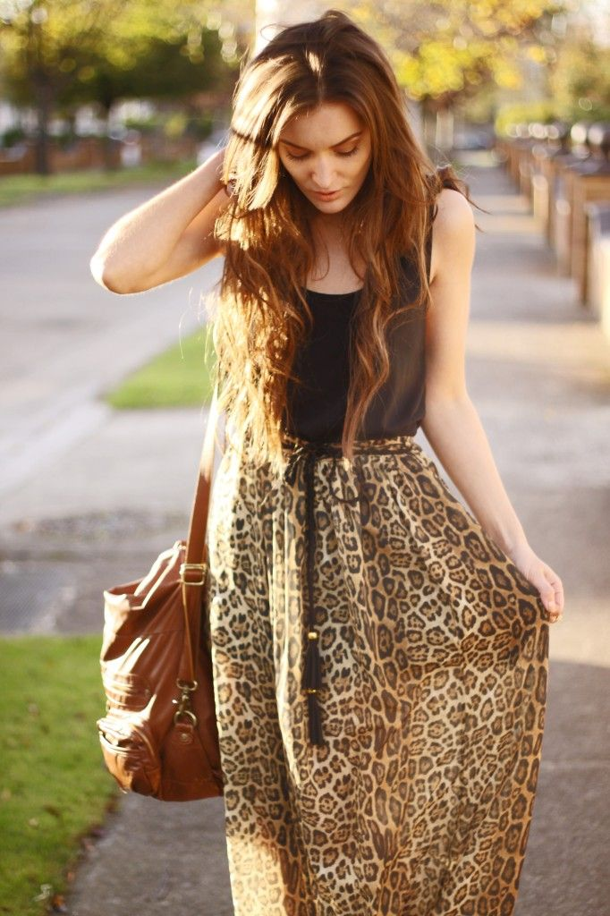 e233eed6b falda larga de leopardo. | Estilo | Faldas, Faldas largas y Falda ...