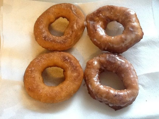 Big, bakery-size doughnuts made from Pillsbury Grands biscuits.  I have made lots with the regular-size biscuit, but they dont compare to these.  Look and taste great!  My husband said  Oh! you went to the bakery?