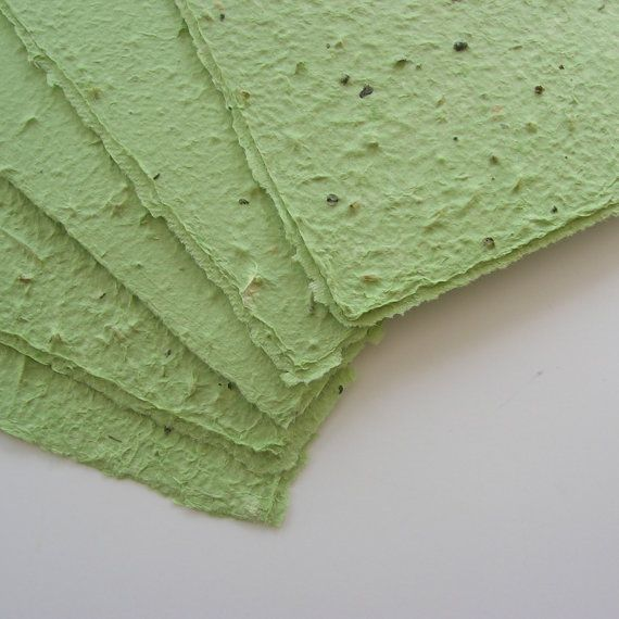 Green Sheets Of Plantable Paper Seeded Stationery Made