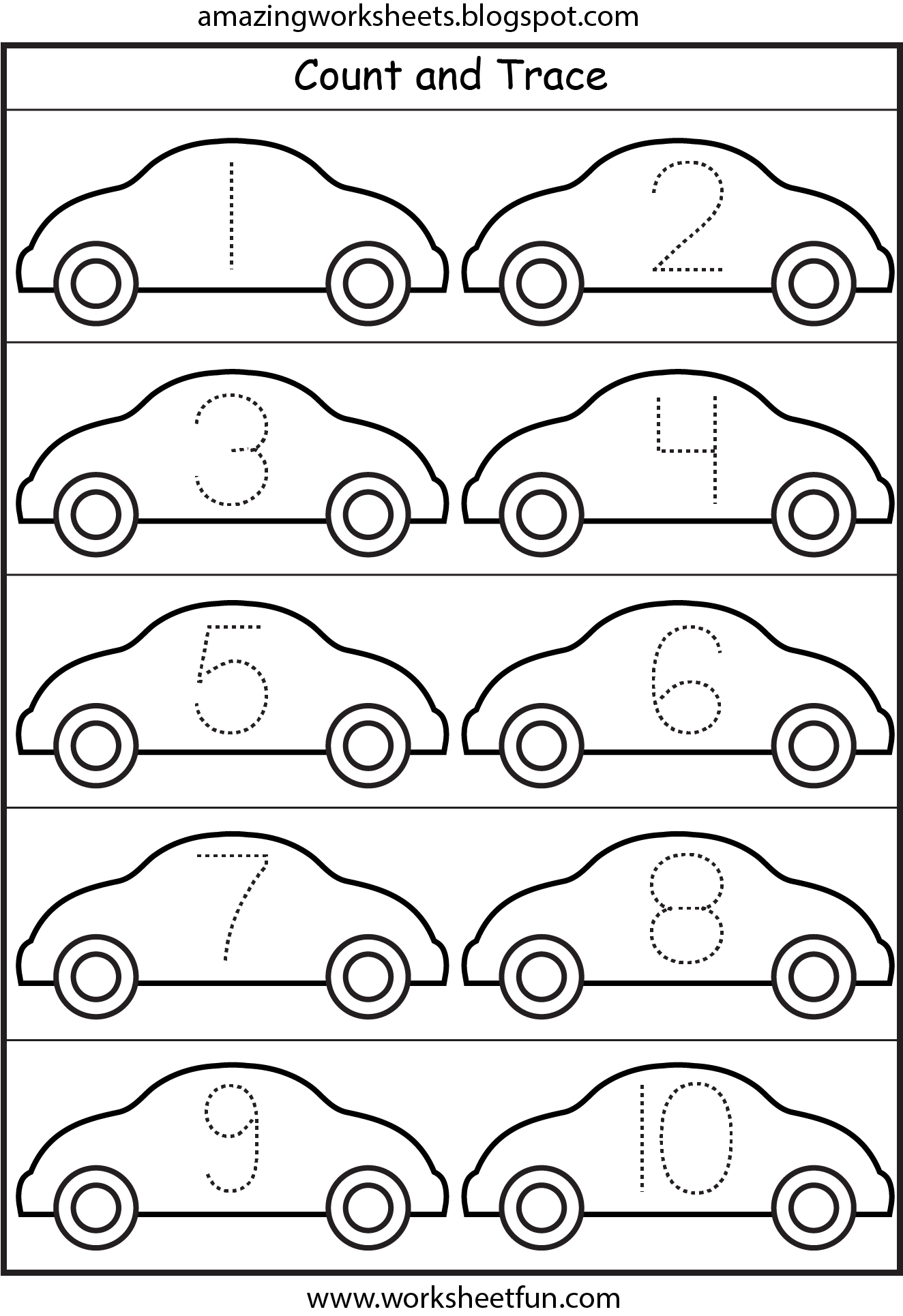 cars number tracing 1 10 printable worksheets pinterest number tracing number and. Black Bedroom Furniture Sets. Home Design Ideas