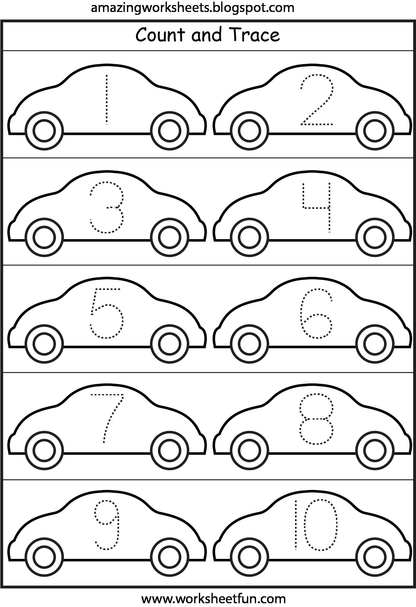 worksheet Number Tracing Worksheets 1-10 lots of worksheets for all themescars number tracing 1 10 1
