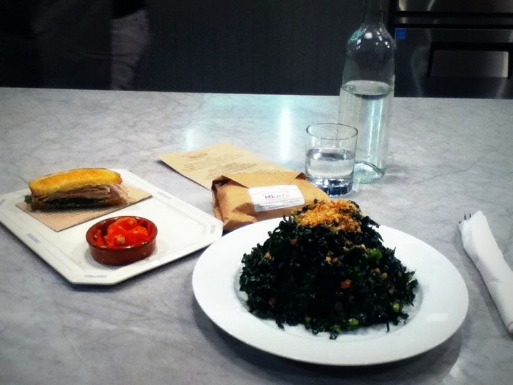 (rain shadow meats, Seattle Pioneer Square) kale salad -so good, kale cured olives bread crumbs, lemon. Their sandwiches are YUM!!