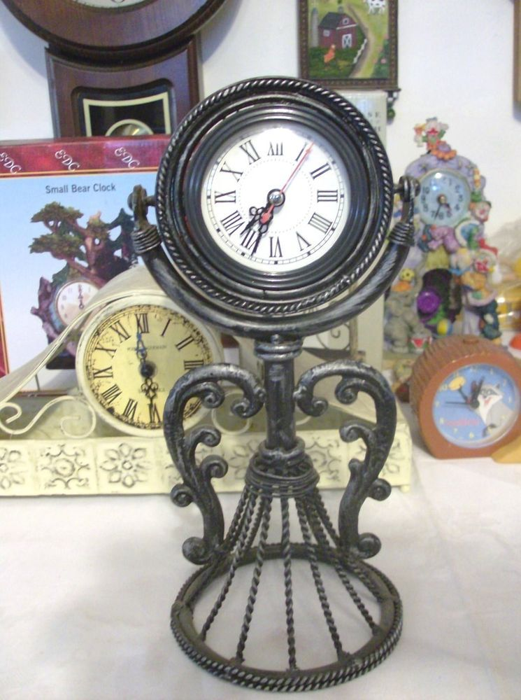 Beau Cast Iron Black Mantel Quartz Mantel/ Shelf Clock Floor Model