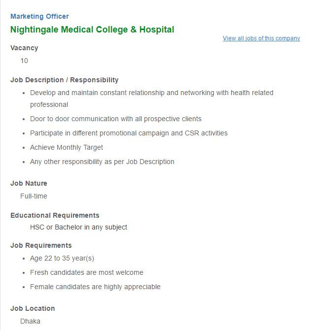 Nightingale Medical College  Hospital Marketing Officer Job