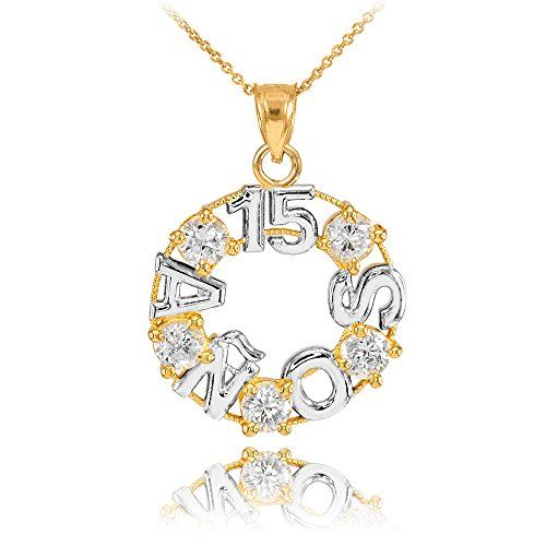 Adorn the light of your life with this 14k two-tone yellow and white gold Sweet 15 Quinceañera CZ Pendant Necklace embellished with clear cubic zirconias. Make this a birthday she will never forget ...