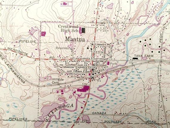 Antique Mantua Ohio 1959 Us Geological Survey Topographic Map