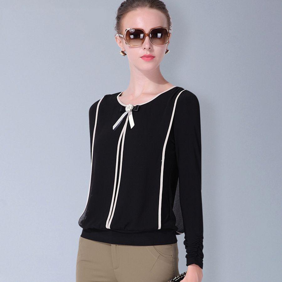 Women Chiffon Shirt Blouse Long Sleeve Spring Korean Style Plus ...