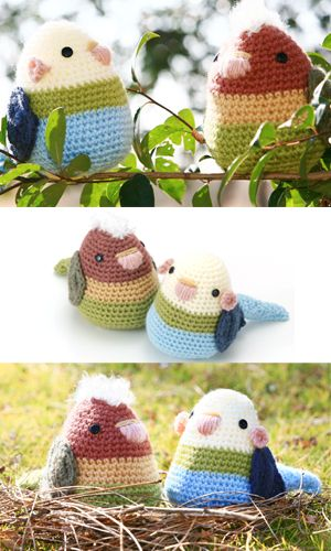 make your own ami (= crochet) bird, click Figure knitting at lower right for diagrams