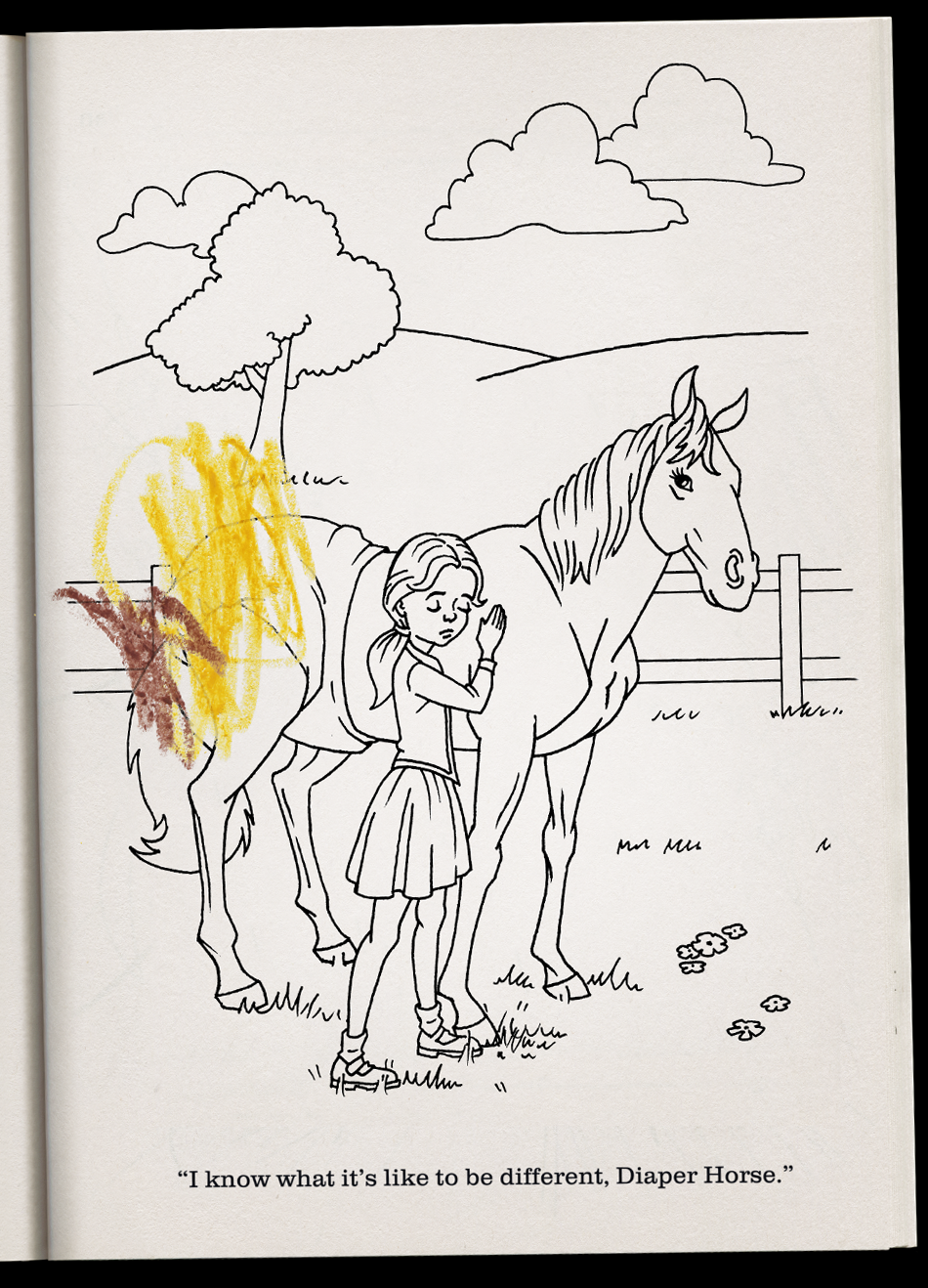 Diaper Horse Coloring Book Interior Page Illustration by Jack ...