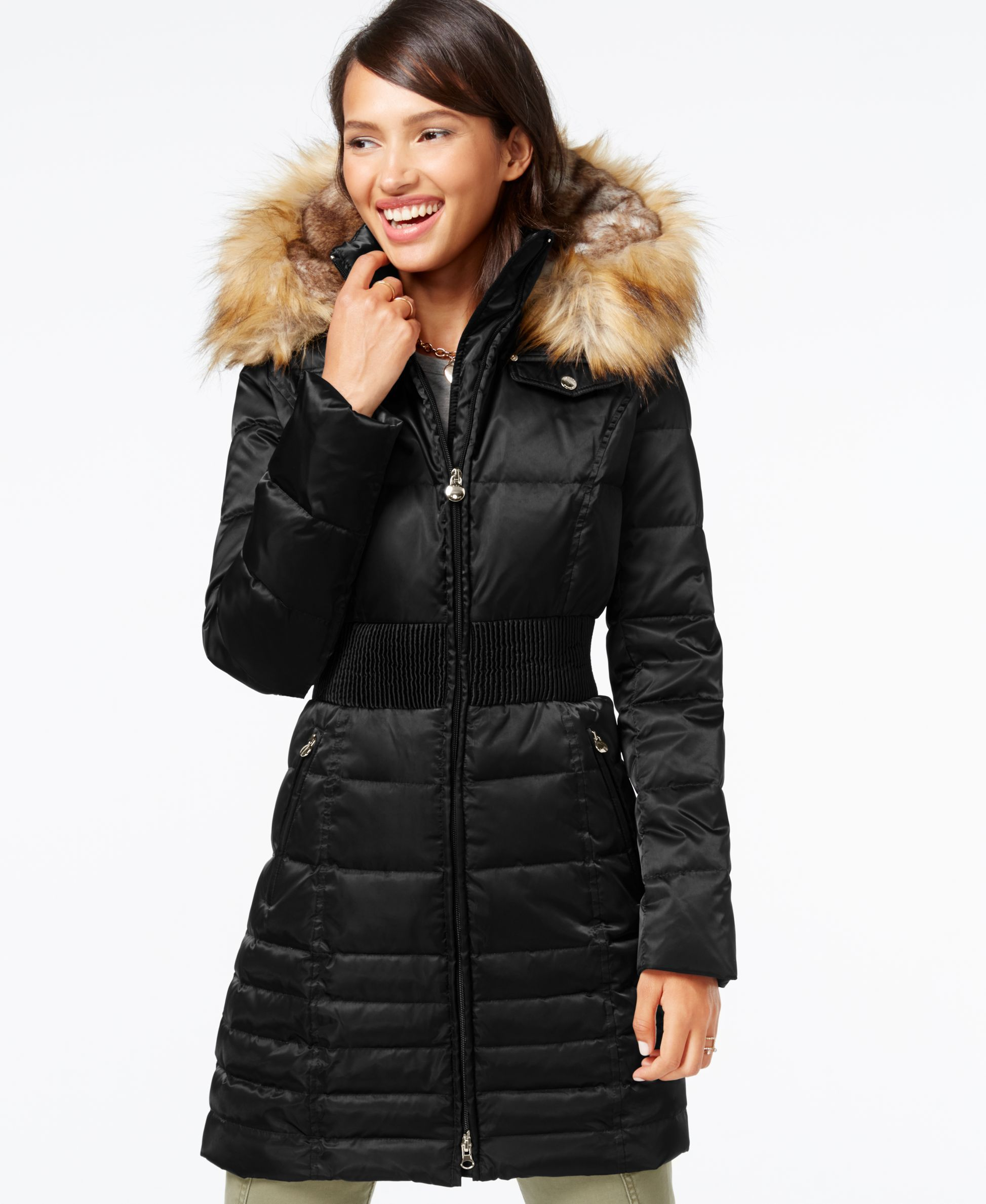 Laundry By Shelli Segal Faux Fur Hood Down Puffer Coat Black