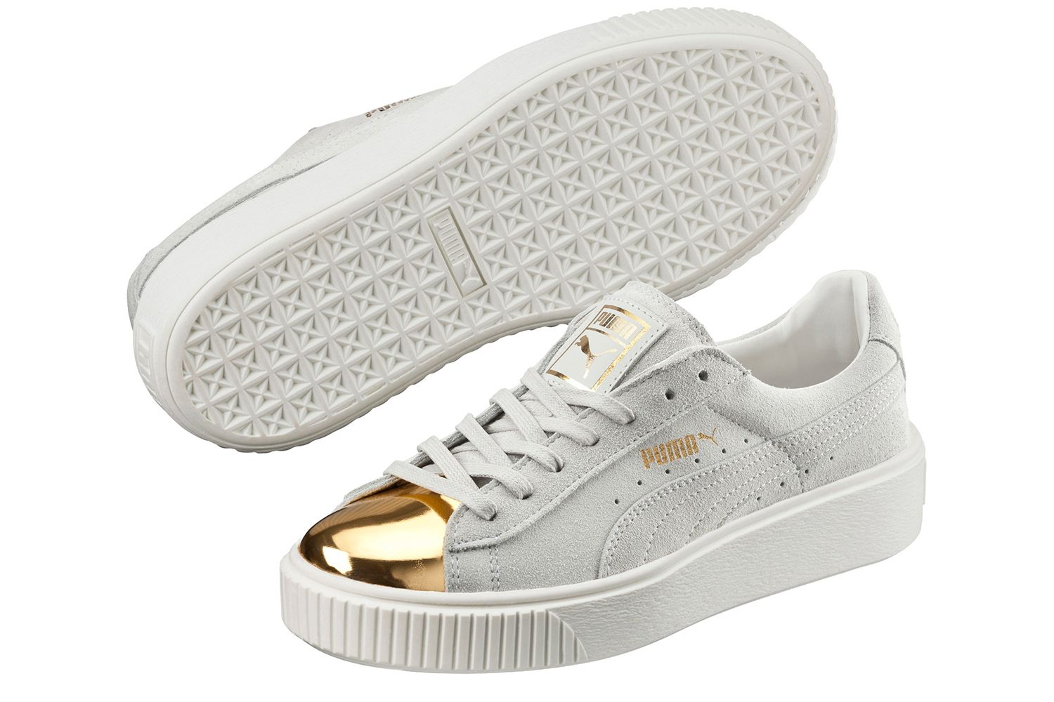 Gold Toes On The Puma Suede Platform