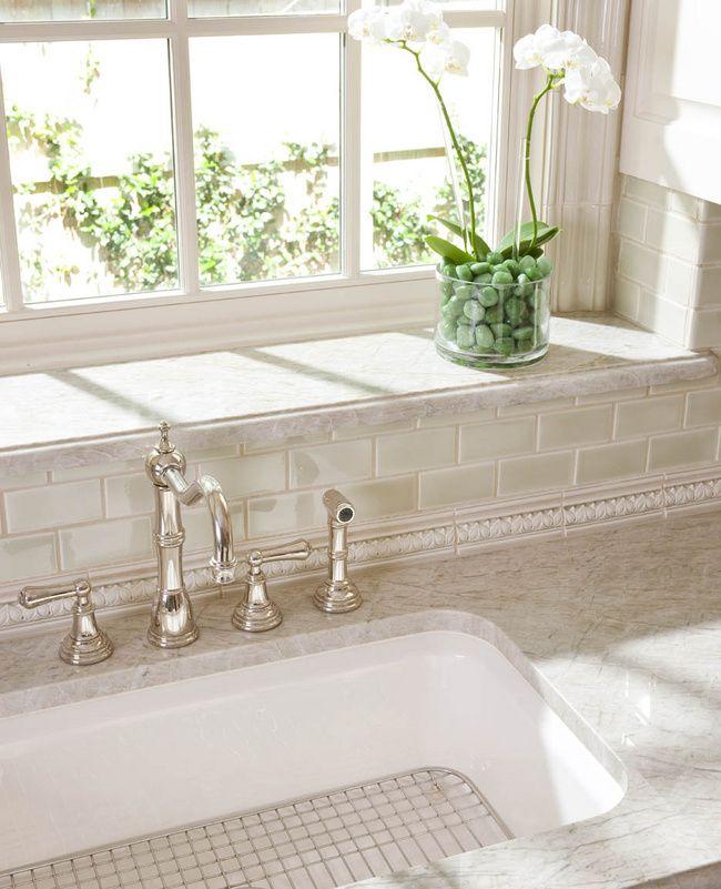 Kitchen Backsplash Tile Around Window: Stone Or Tile Window Sill, Tile Window Trim