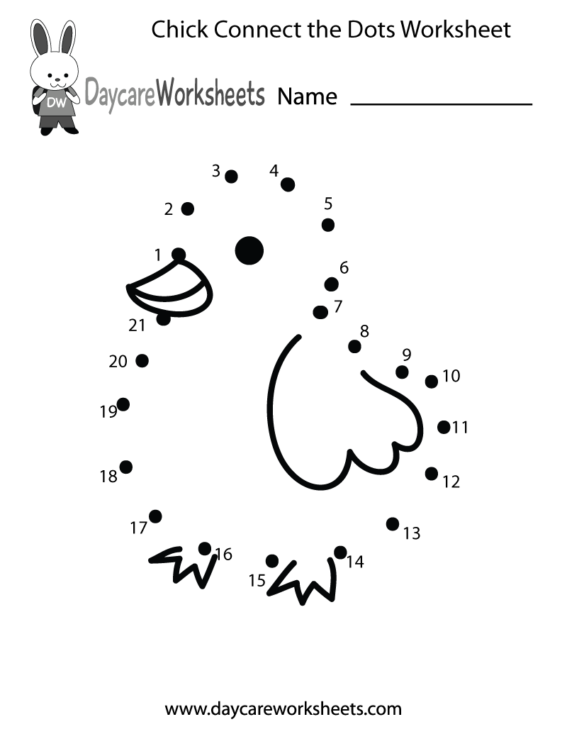 Dot Worksheets For Kindergarteners : Preschoolers can connect the dots to make a chick in this