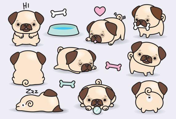 Premium Vector Clipart - Kawaii Pugs - Cute Pugs Clipart Set - High ...