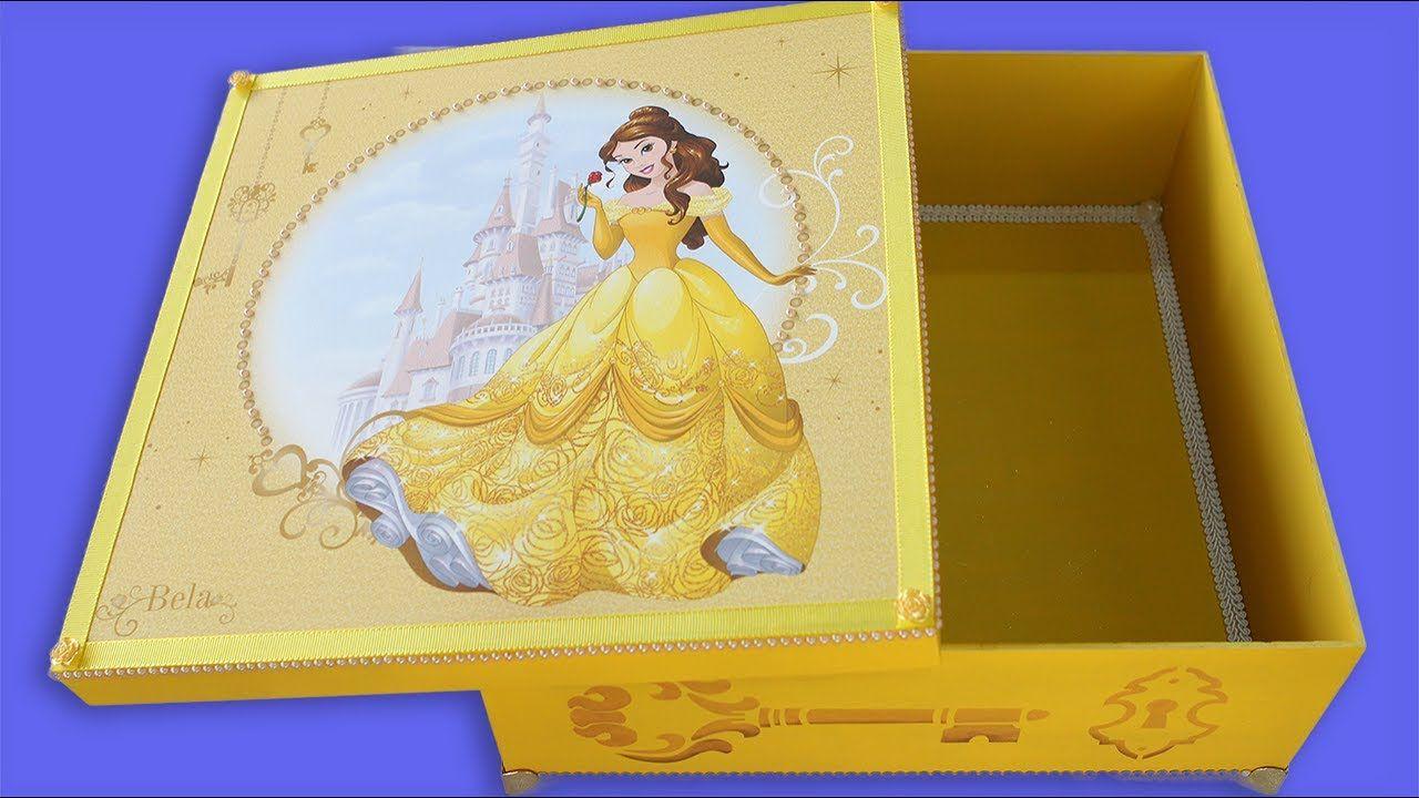 Caixa Decorada Disney Princesa Bela Faça Você Mesmo