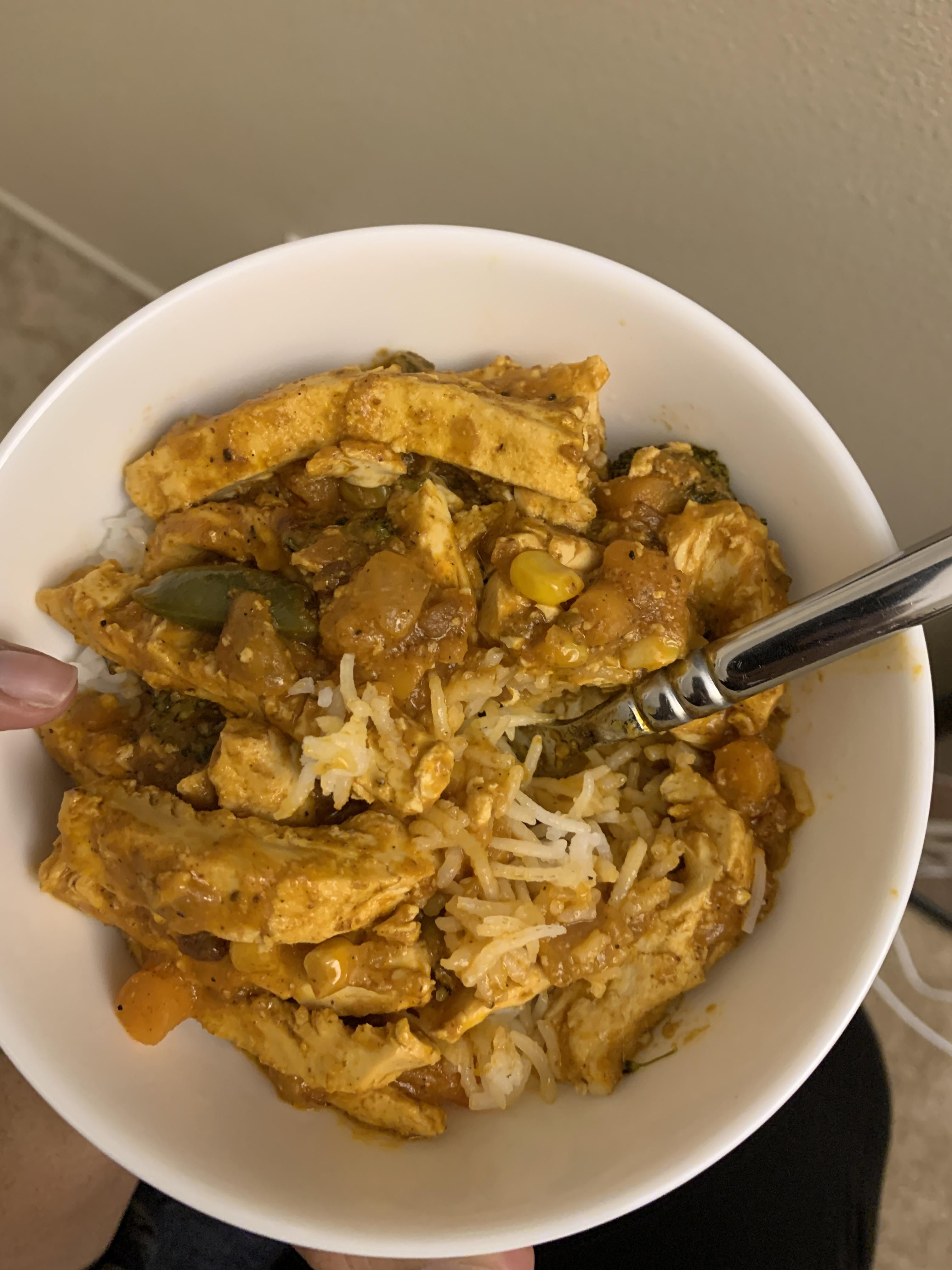 Madras curry with vegetables and morning star chickn