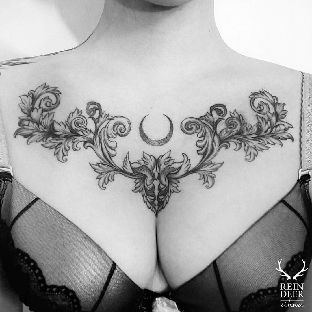Something Like This Size Ish But Lower And No Centerpiece Thing Ink Chest Tattoos For Women Chest Piece Tattoos Cool Chest Tattoos