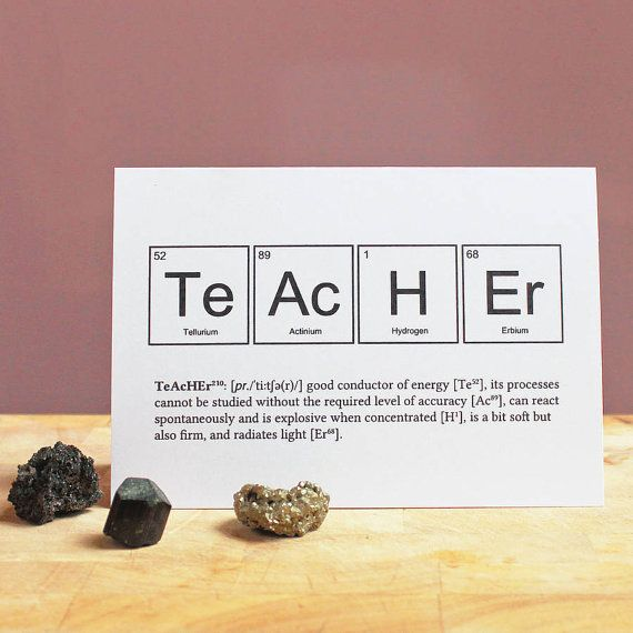 FUNNY TEACHER ELEMENTS Cards Science Periodic Table Greeting Term - copy la tabla periodica moderna pdf