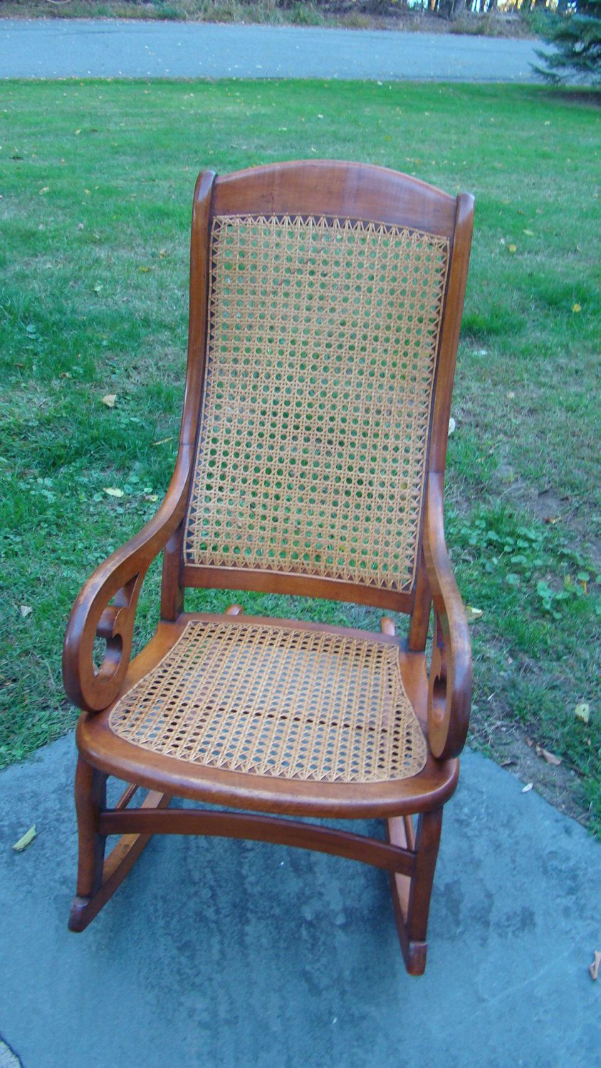 Antique sewing chair - Early 1900s Antique Victorian Maple Lincoln Rocker Rocking Wooden Cane Chair Sewing Nursing Baby By Lifessoulmission