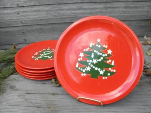 6 red and green Christmas Tree dinner plates Waechtersbach pottery & 6 red and green Christmas Tree dinner plates Waechtersbach pottery ...