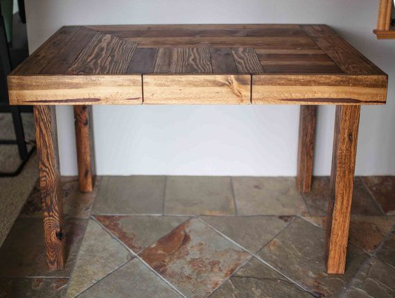Pallet Wood Desk With Drawer And Wooden Legs By Kensimms On Etsy