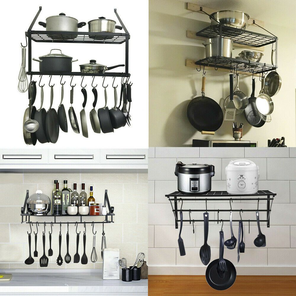 Hanging Iron Rack Storage Kitchen Organizer Pot Pan Holder Wall