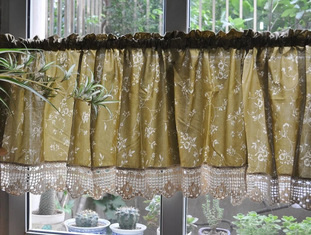 French Country Floral Rose Cafe Kitchen Curtain Valance - French country valances