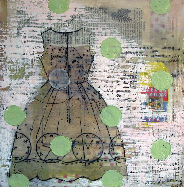 "Tea Dress by Lisa Meyer-Kairos - Encaustic Mixed Media  12""x12"" 2007  #art"