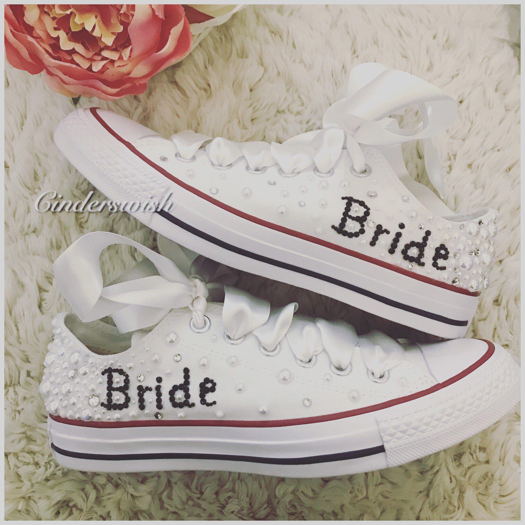 15647956aae77 Beautiful Pearl spray Wedding Converse with personalised backstrips ...
