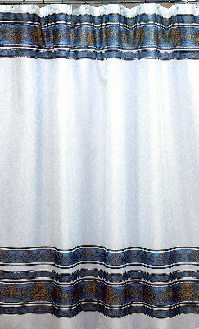 French Country Fleur Fabric Shower Curtain Slate Blue
