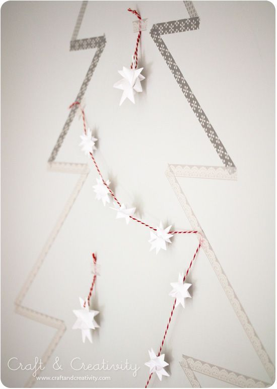 Washi taped Chrismtas tree - by Craft & Creativity