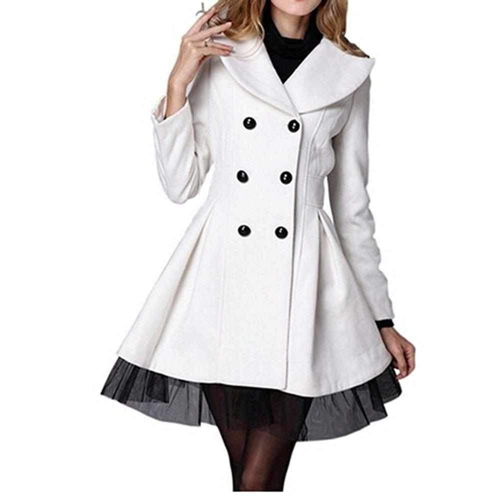 Classy Black White Pleated Double Breasted Pea Coat Fashion Coats For Women Clothes [ 1001 x 1001 Pixel ]