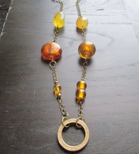 Baltic Amber and Glass Golden Circle Necklace by LozardCreations