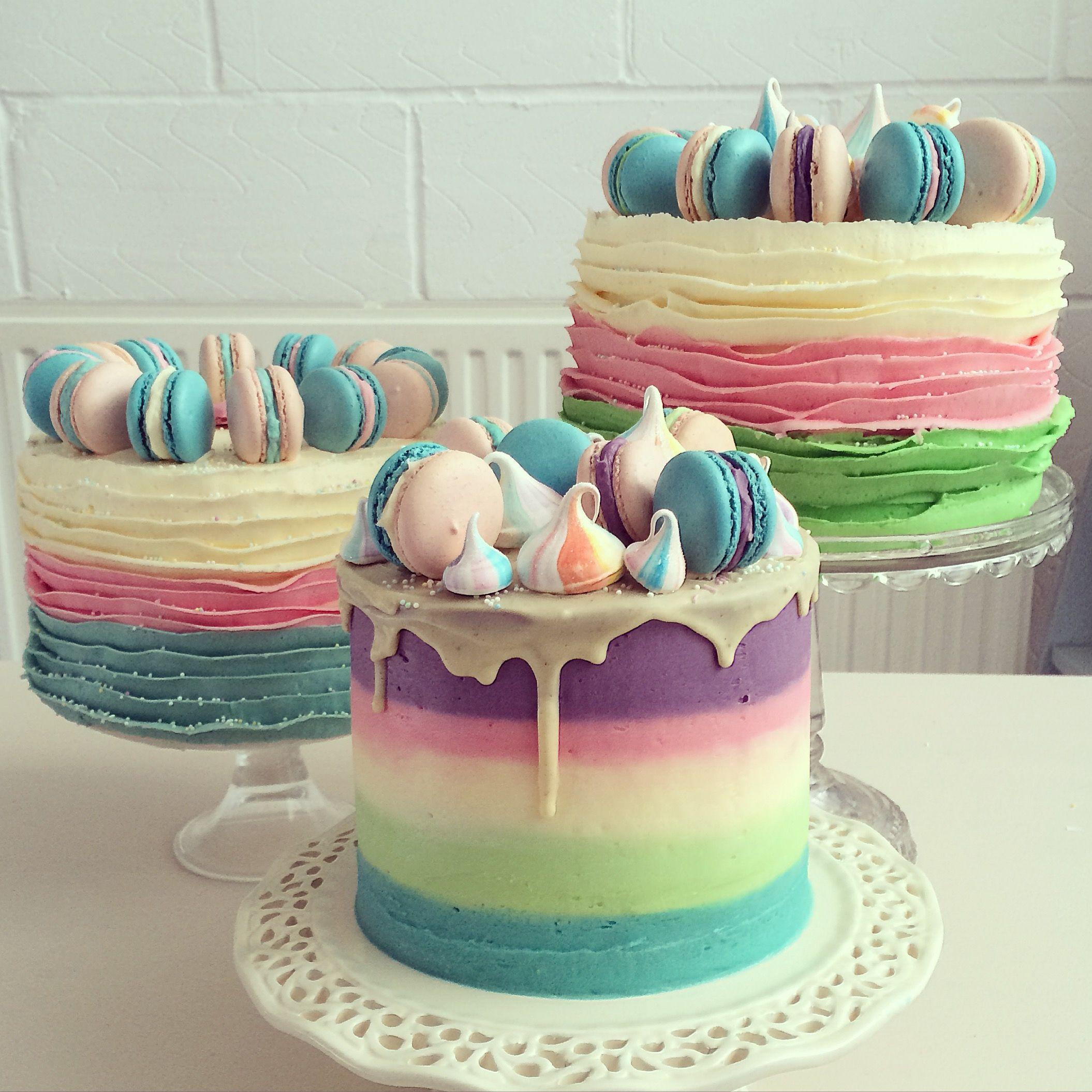 Striped Buttercream Cakes