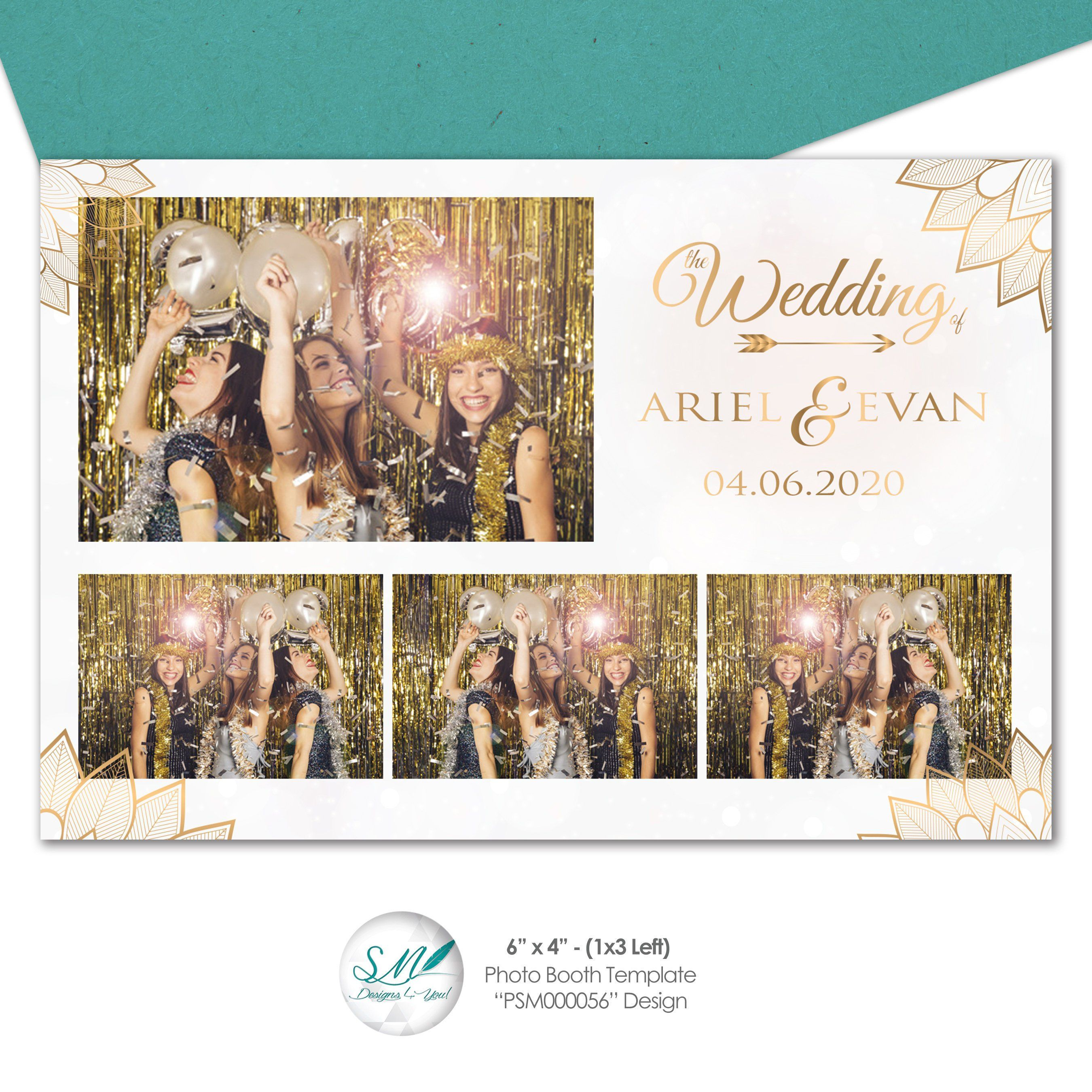 Gold White Feather Photo Booth 4x6 Postcard Digital File Etsy Photobooth Template Photobooth Pictures Photo Booth Photo booth templates for sale