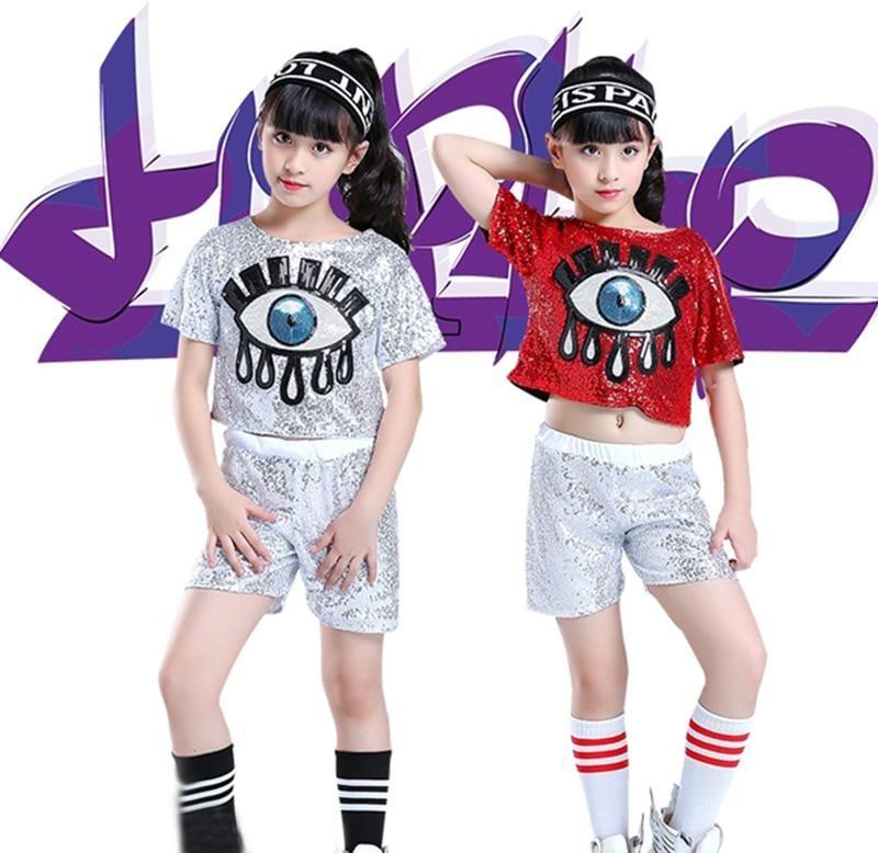 Girls Children/'s Modern Jazz Hip-Hop Dancewear Kid/'s Dance Sequins Costumes US