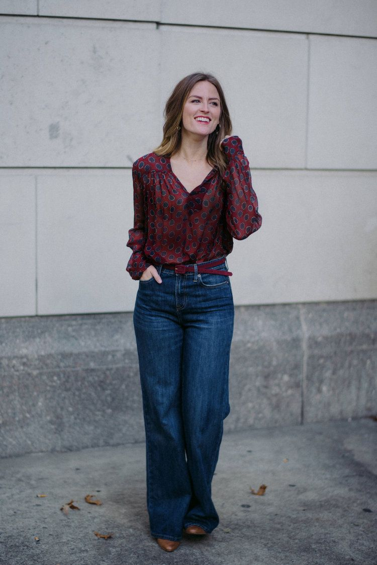 f960f0ff5e4a Wide leg denim with button down shirt    A Week Of Nashville-Chic Ethical  Outfits With Jordan Soderholm