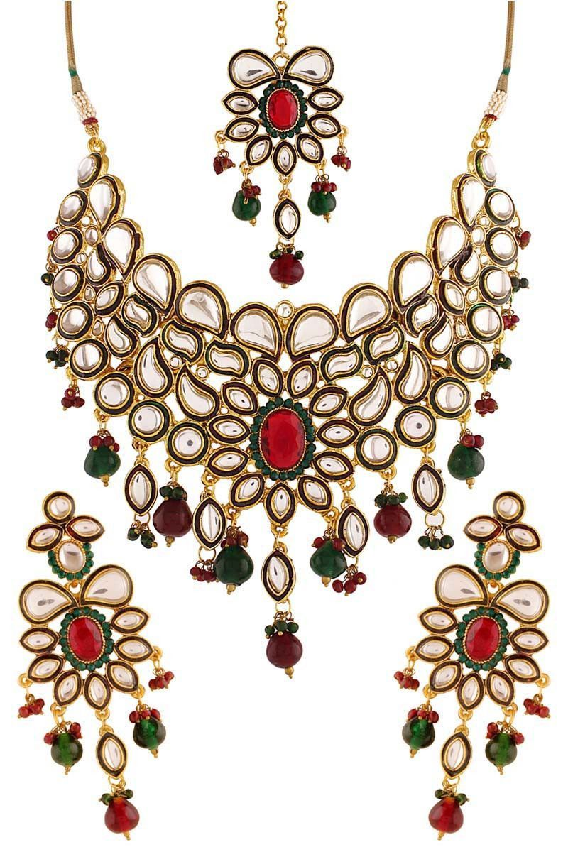 Red gold plated kundan necklace set statements pinterest red