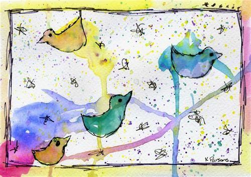"""Flock"" - Original Fine Art for Sale - Watercolor and Ink - © Kali Parsons - http://kaliparsons.blogspot.com"